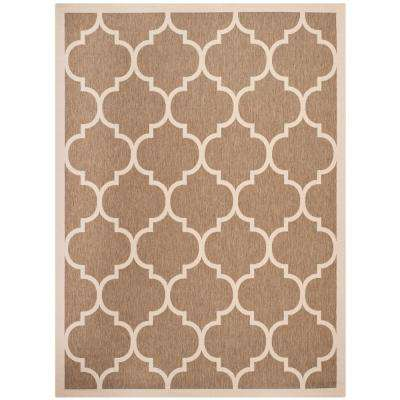 Courtyard Brown/Bone 9 ft. x 12 ft. Indoor/Outdoor Rectangle Area Rug