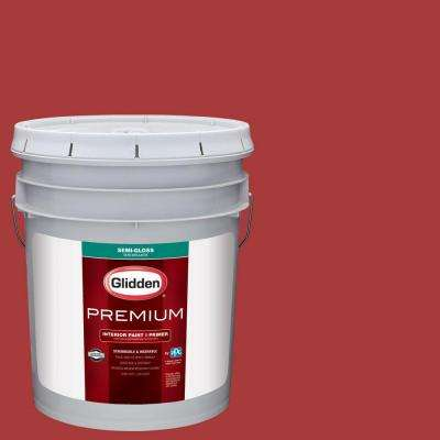 5 gal. #HDGR53D Crimson Red Semi-Gloss Interior Paint with Primer