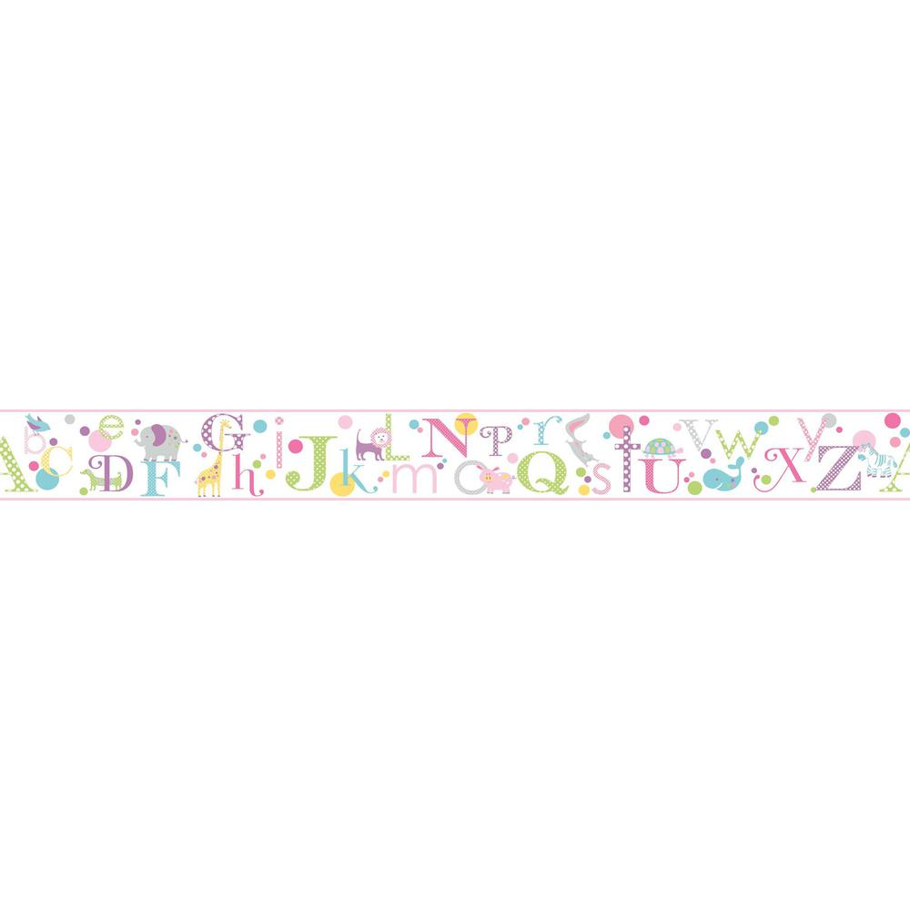 York wallcoverings inc growing up kids alphabet removable for Temporary wallpaper border