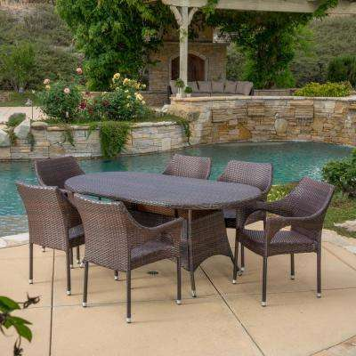 Jonathan Multi-Brown 7-Piece Wicker Outdoor Dining Set with Stacking Chairs