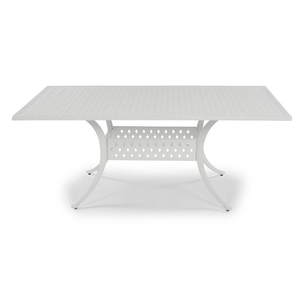 La Jolla Cast White Rectangular Aluminum Outdoor Dining Table
