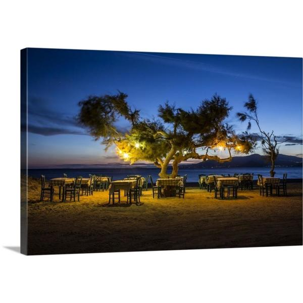 Outdoor Cafe On The Beach In Naxos Greece By Scott Stulberg Canvas Wall Art