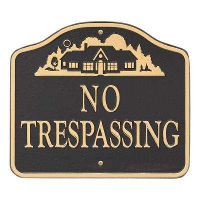 No Trespassing Sign, Cast Aluminum - Wall or Lawn Mounting