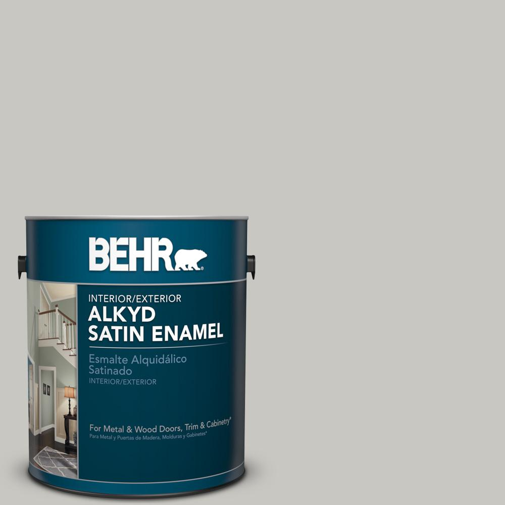 1 gal. #N360-2 Silver Marlin Satin Enamel Alkyd Interior/Exterior Paint