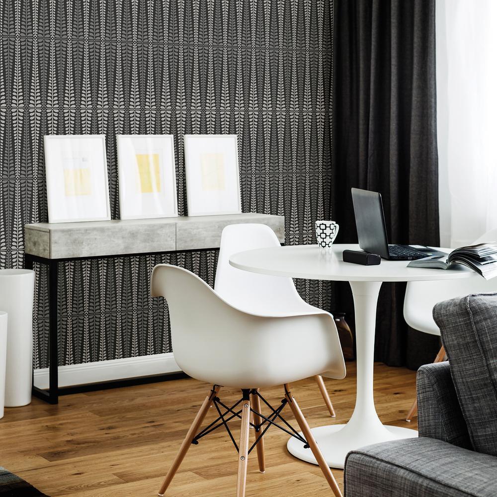 Stellar Black Floral Stripe Wallpaper