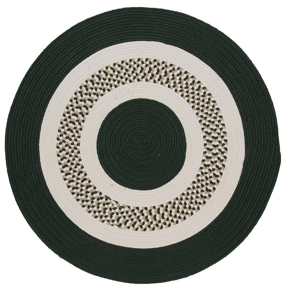 Spiral II Dark Green 10 ft. x 10 ft. Indoor/Outdoor Round Area Rug