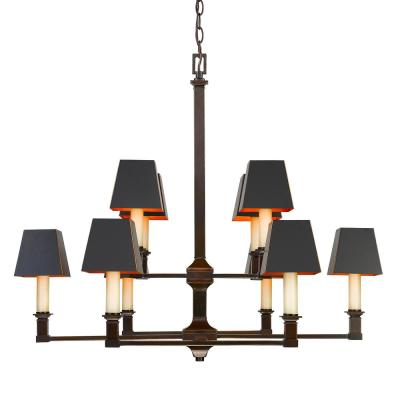 Bradley 10-Light Cordoban Bronze Chandelier with Black Metal Shades