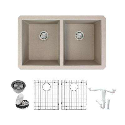 Radius All-in-One Undermount Granite 32 in. Equal Double Bowl Kitchen Sink in Cafe Latte