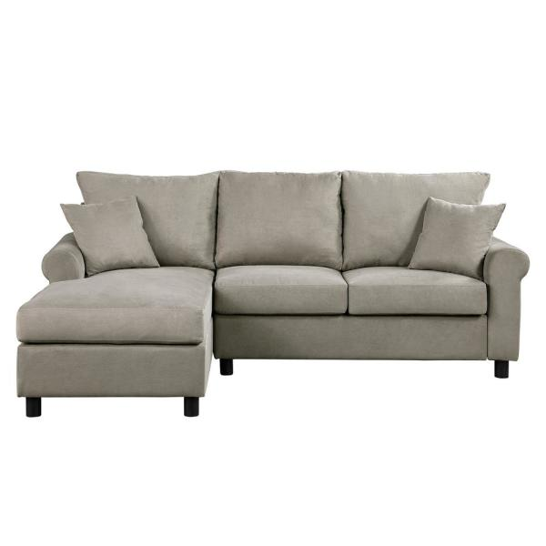 Sectional Sofa Couch 2 Piece Grey Polyester 4 seats L-Shaped Left facing Sectionals with Convertible