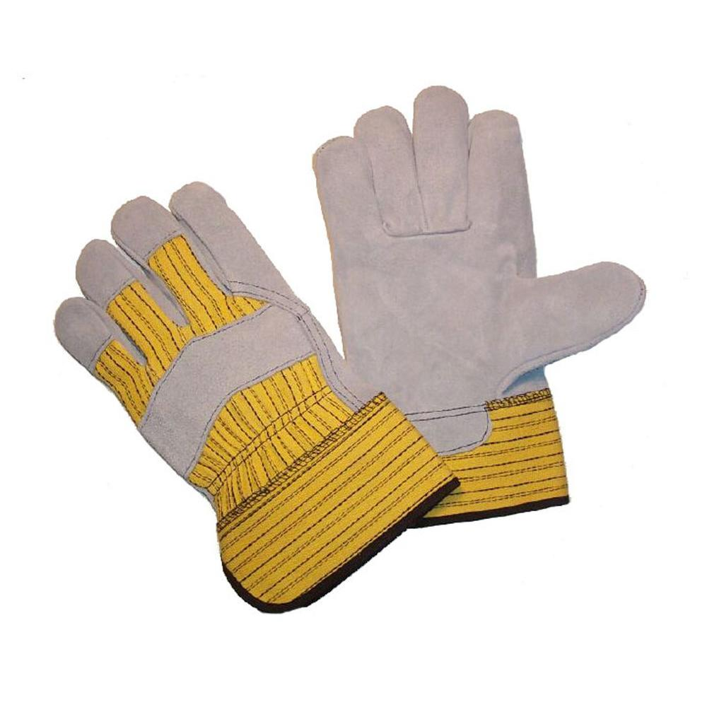 Rubberized Safety Cuff and Heavy Duty Fabric Large Cowhide Gloves (3-Pair)