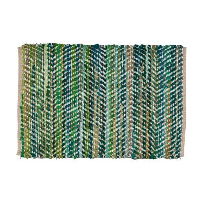 Bernette Green and Silver 2 ft. x 3 ft. Chevron Cotton Area Rug