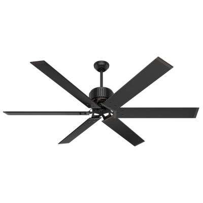 Hunter commercial outdoor ceiling fans lighting the home depot indooroutdoor matte black ceiling fan with wall control aloadofball Images