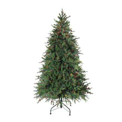 78 in. Pre-Lit Hunter Fir Full Artificial Christmas Tree with Multi-Color Lights
