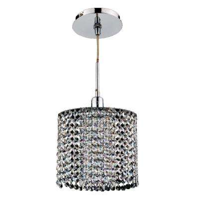 Fuzion X 1-Light Oval 2-Layer Crystal and Chrome Mini Pendant