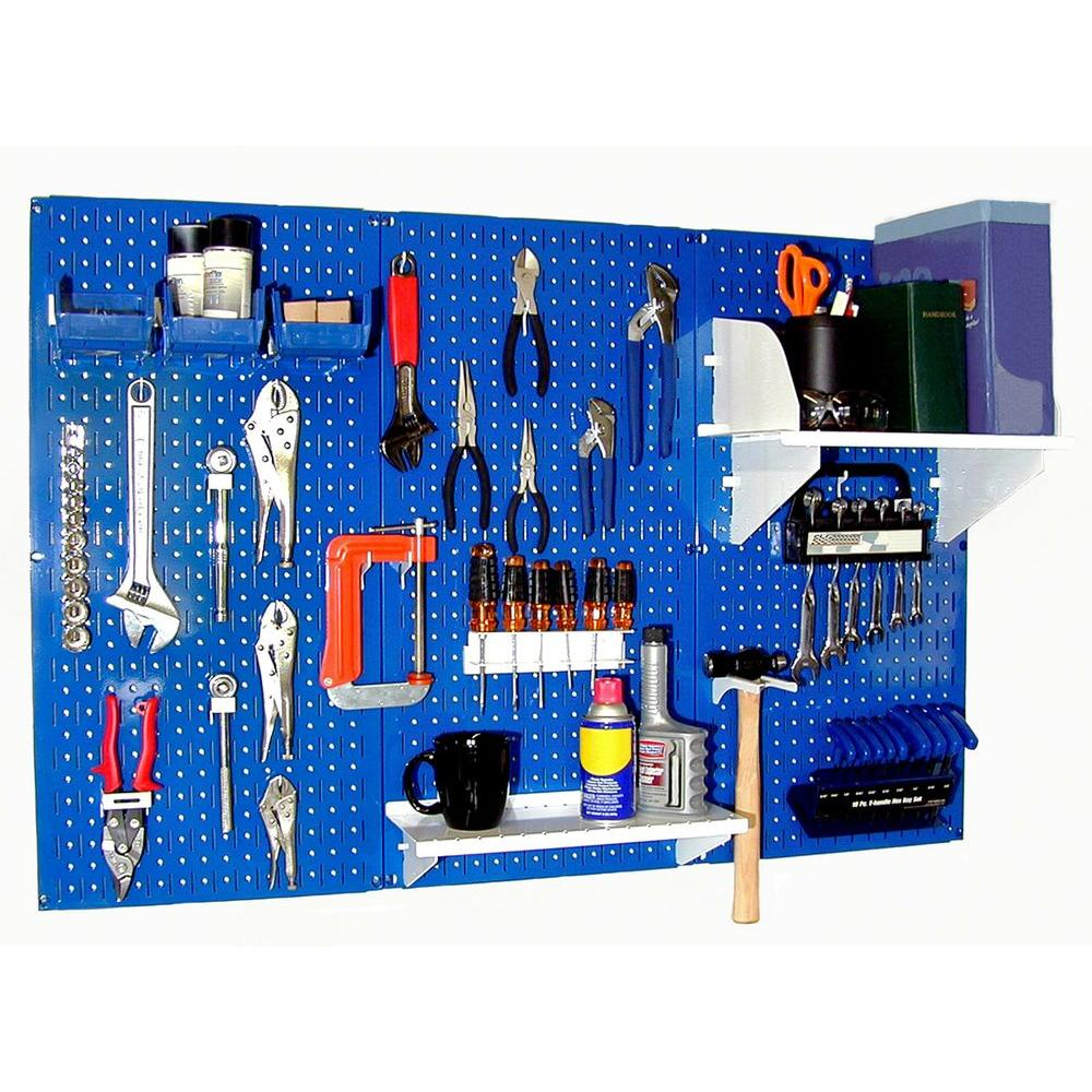 Wall Control 32 in. x 48 in. Metal Pegboard Standard Tool Storage Kit with Blue Pegboard and White Peg Accessories