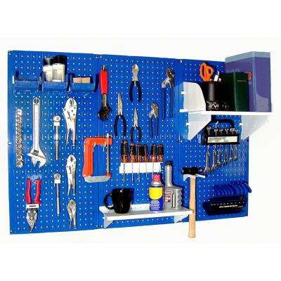 32 in. x 48 in. Metal Pegboard Standard Tool Storage Kit with Blue Pegboard and White Peg Accessories