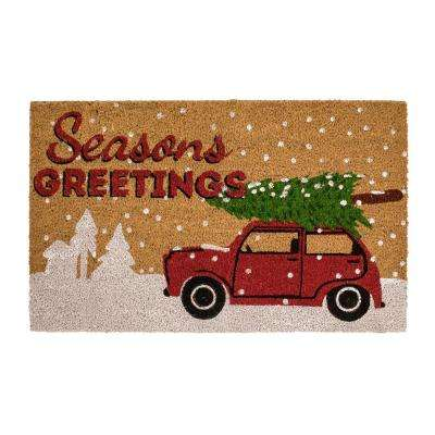 Snow Truck and Tree 18 in. x 30 in. Coir Holiday Mat