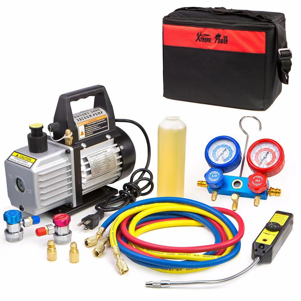 1/3 HP 4 CFM Air Vacuum Pump HVAC A/C Refrigerant Kit with AC Manifold Gauge Set and Leak Detector
