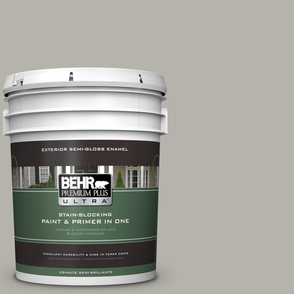 Behr Premium Plus Ultra 5 Gal Ppu24 11 Greige Semi Gloss Enamel Exterior Paint 585405 The