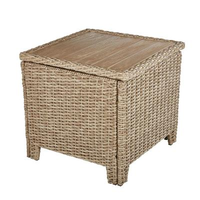 Amber Grove Brown Wicker Outdoor Accent Trunk Table