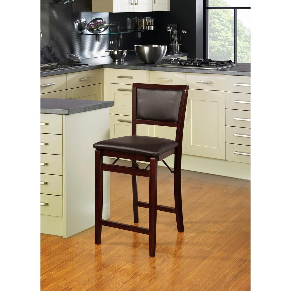 Kitchen Bar With Stools: Folding Bar Stool Chair Cushioned Wood Seat Kitchen