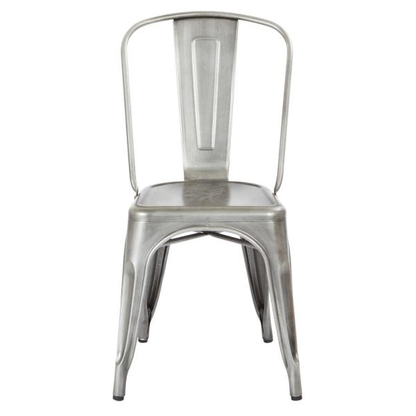 Bristow Brushed Silver Armless Metal Chair (4-Pack)