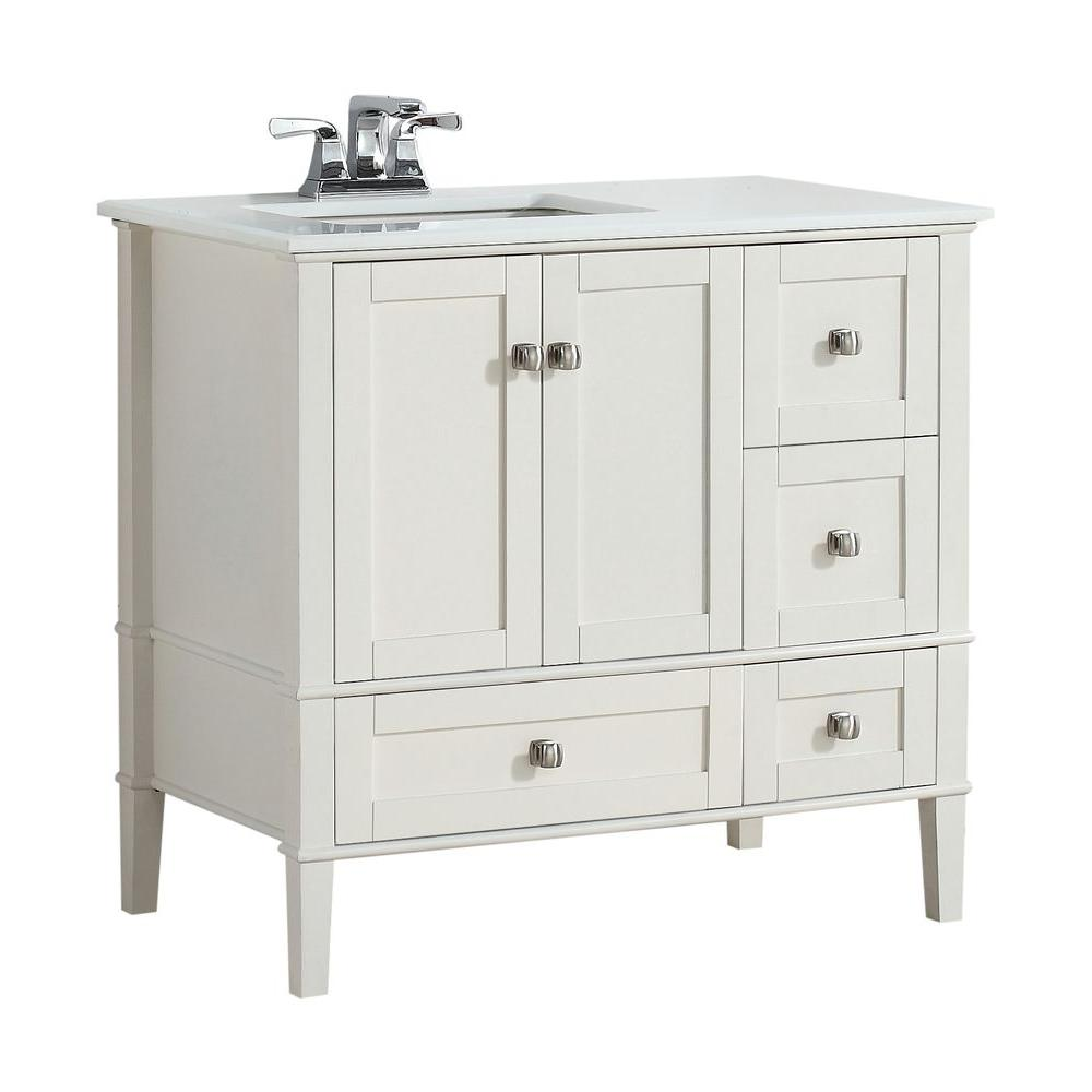 Simpli Home Chelsea 36 In W Vanity In Soft White With Quartz Marble Vanity Top In White And