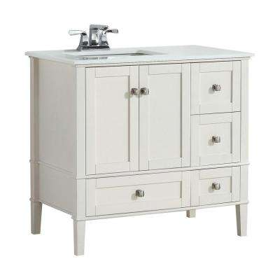 Chelsea 36 in. W Vanity in Soft White with Quartz Marble Vanity Top in White and Left Off Set Under Mount Sink