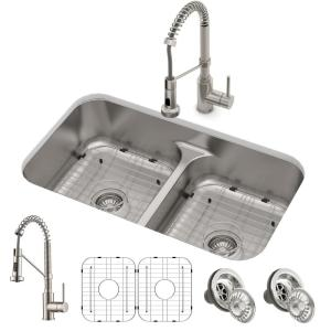 Phenomenal Kraus Ellis All In One Undermount Stainless Steel 32 In 50 50 Double Bowl Kitchen Sink With Commercial Pull Down Faucet Kca 1200 The Home Depot Download Free Architecture Designs Sospemadebymaigaardcom