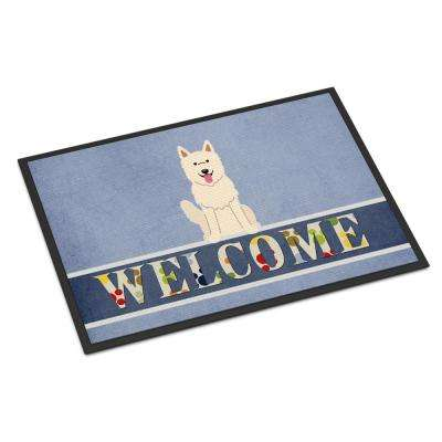 18 in. x 27 in. Indoor/Outdoor White German Shepherd Welcome Door Mat