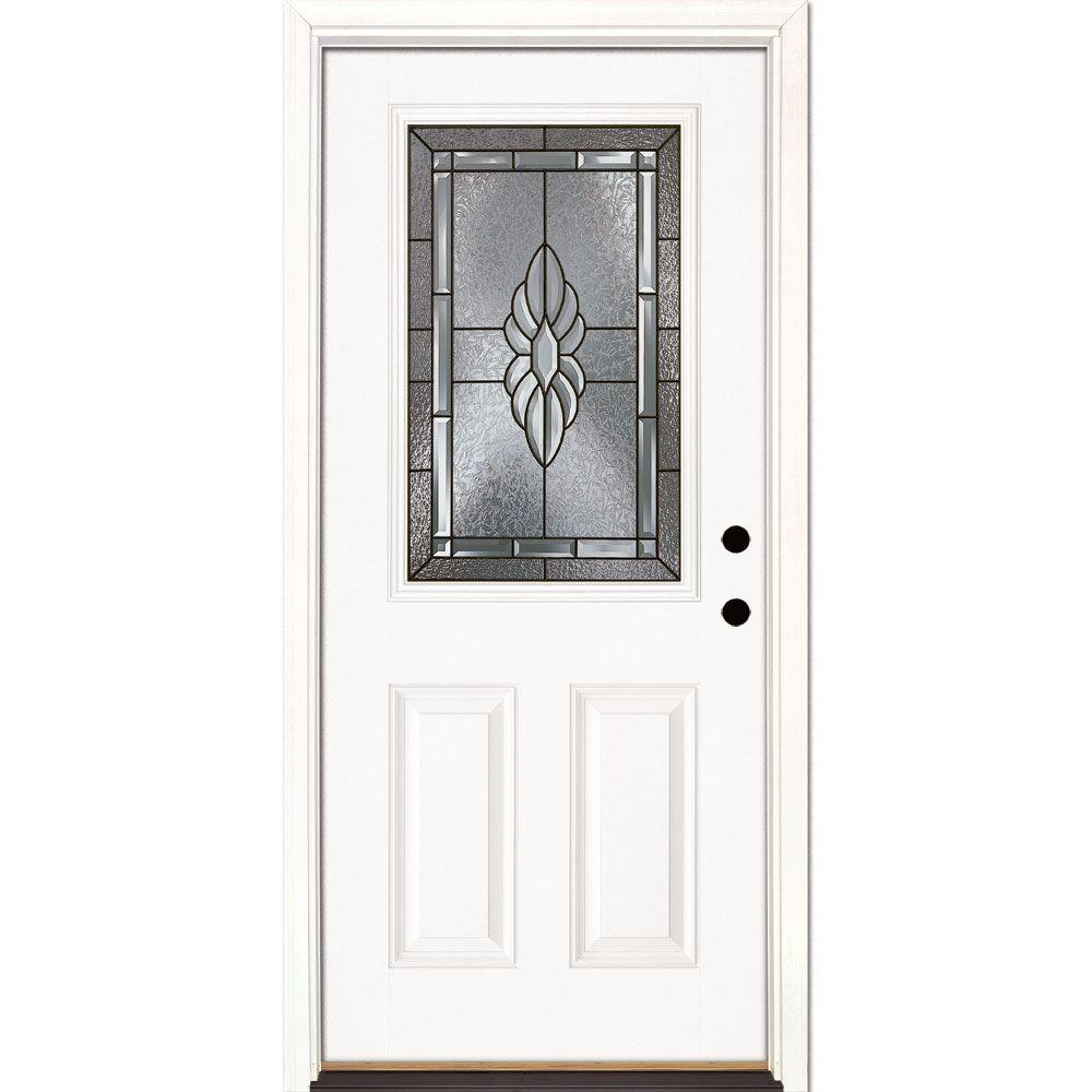 Feather River Doors 33.5 in. x 81.625 in. Sapphire Patina 1/2 Lite Unfinished Smooth Left-Hand Inswing Fiberglass Prehung Front Door