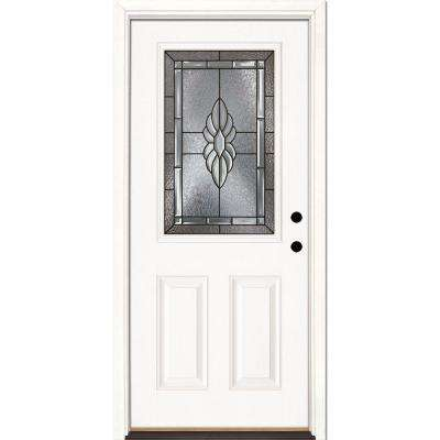33.5 in. x 81.625 in. Sapphire Patina 1/2 Lite Unfinished Smooth Left-Hand Inswing Fiberglass Prehung Front Door