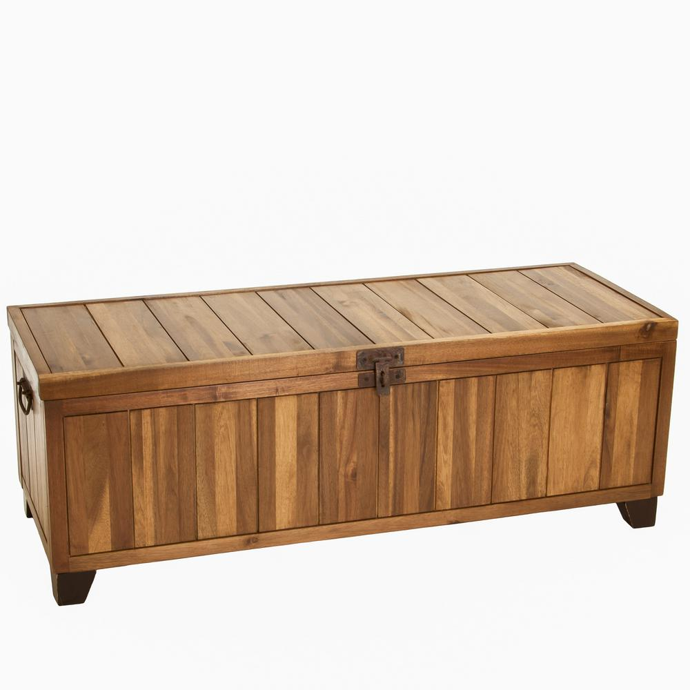 Noble House Jada Stained Ebony Brown Wooden Storage Bench 238018