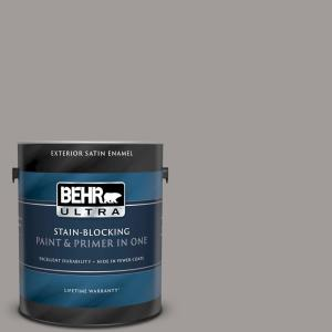 Behr Ultra 1 Gal Bnc 17 Casual Gray Satin Enamel Exterior Paint And Primer In One 985401 The Home Depot