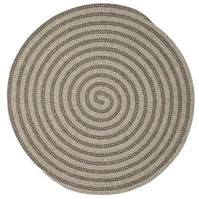 Charmed Dark Gray 5 ft. x 5 ft. Round Braided Area Rug