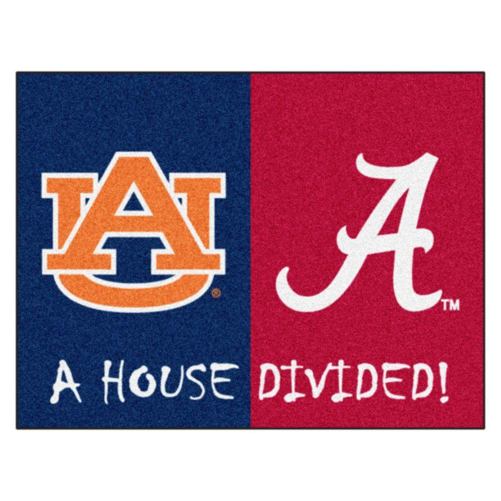 Fanmats Ncaa Alabama Auburn House Divided 2 Ft 10 In X 3