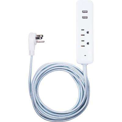 10 ft. 2-Outlet 2-USB Port Extension Cord in Mint/White