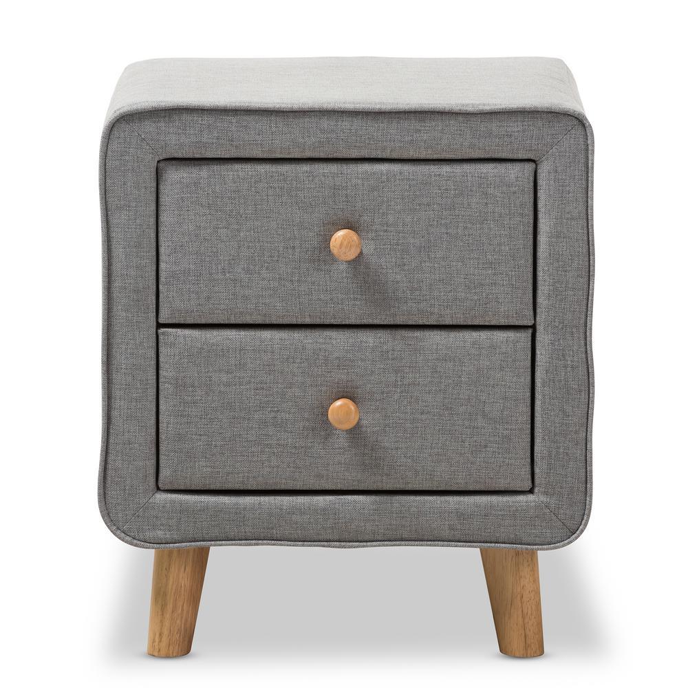 Jonesy 2-Drawer Mid-Century Gray Fabric Nightstand