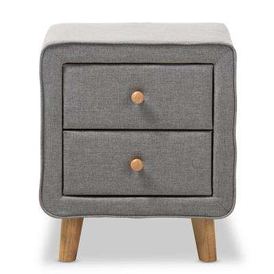 Jonesy 2-Drawer Mid-Century Gray Fabric Nightstand