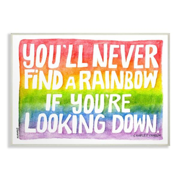 10 in. x 15 in. ''Find A Rainbow Watercolor Typography'' by Marley Ungaro Printed Wood Wall Art