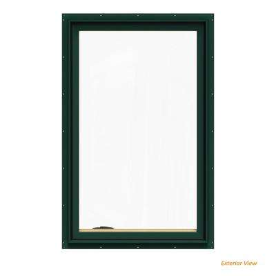 30.75 in. x 48.75 in. W-2500 Series Green Painted Clad Wood Left-Handed Casement Window with BetterVue Mesh Screen