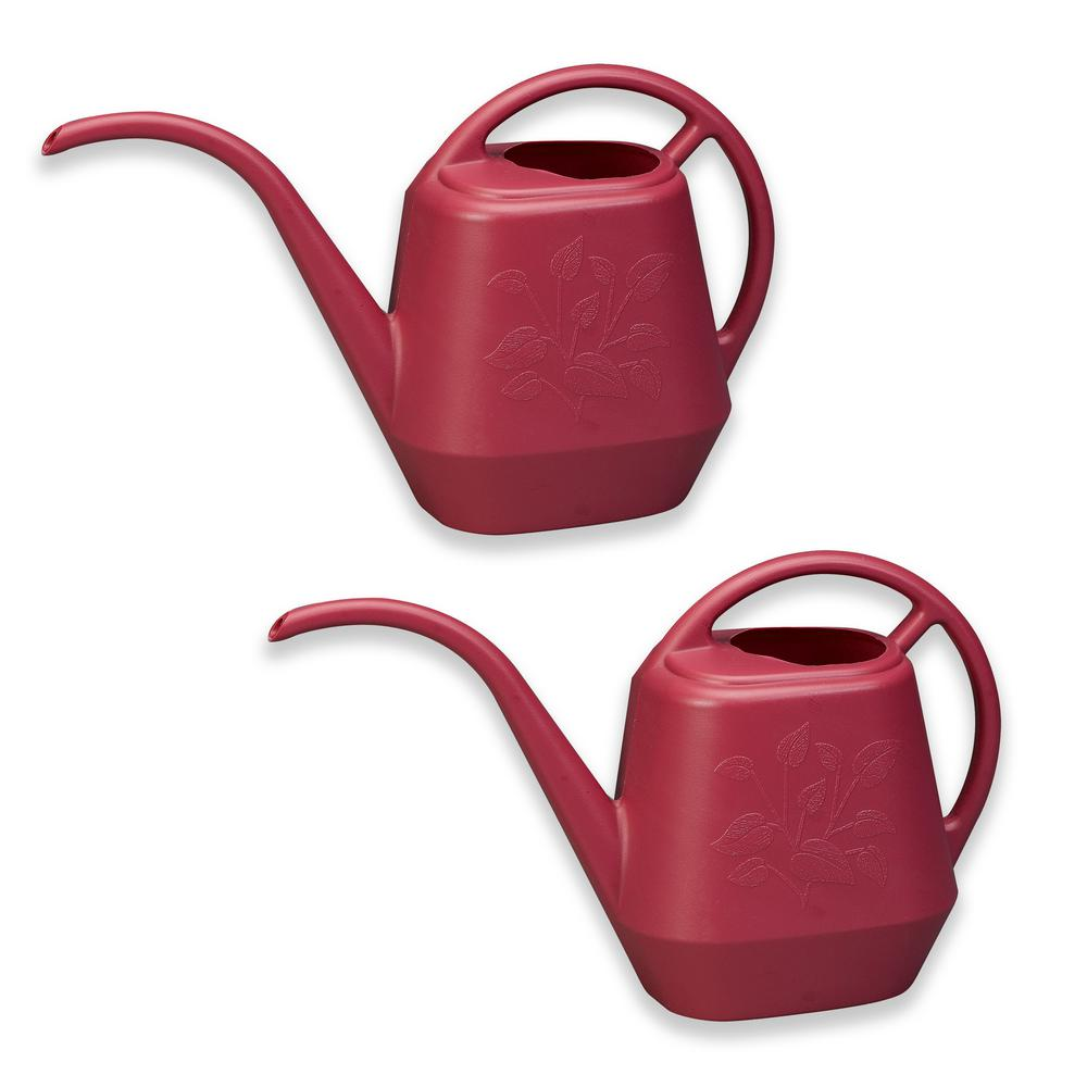 1.3 Gal. Union Red Watering Can Plastic Aqua Rite (2-Pack)