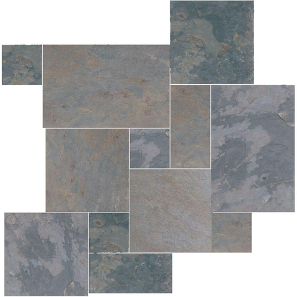 Daltile Natural Stone Collection Indian Multicolor Versailles Pattern Slate Floor And Wall Tile Kit 15 75