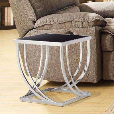 Melrose Black and Chrome Glass Top End Table