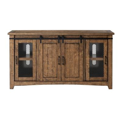 Rustic Barn Door 65 in. W TV Stand in Natural Fits TV's up to 70 in .
