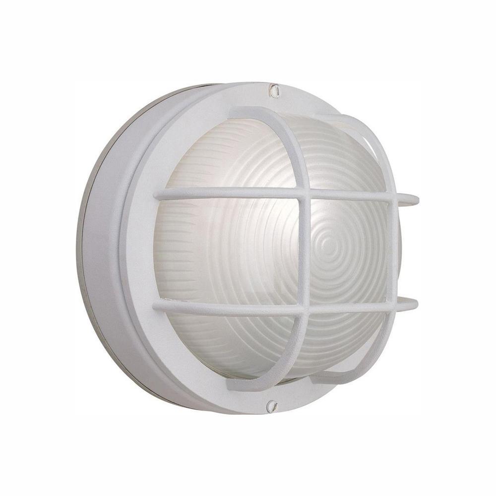 1-Light White Outdoor Round Wall Bulkhead Light