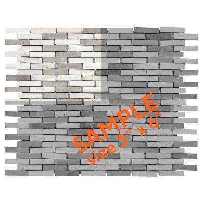 Whispering Cliffs Grey 3 in. x 6 in. x 10 mm Natural Stone Mosaic Tile Sample