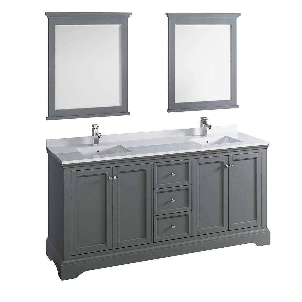 traditional bathroom vanities with white scheme   Fresca Windsor 72 in. W Traditional Double Bath Vanity in ...