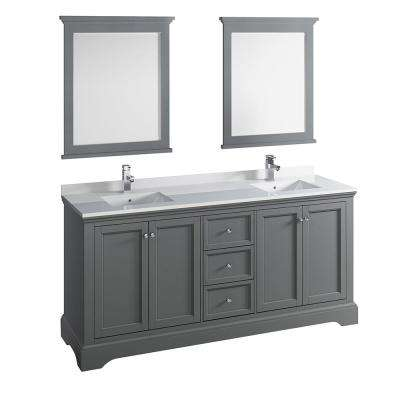 Windsor 72 in. W Traditional Double Bath Vanity in Gray Textured Quartz Stone Vanity Top in White White Basins, Mirrors