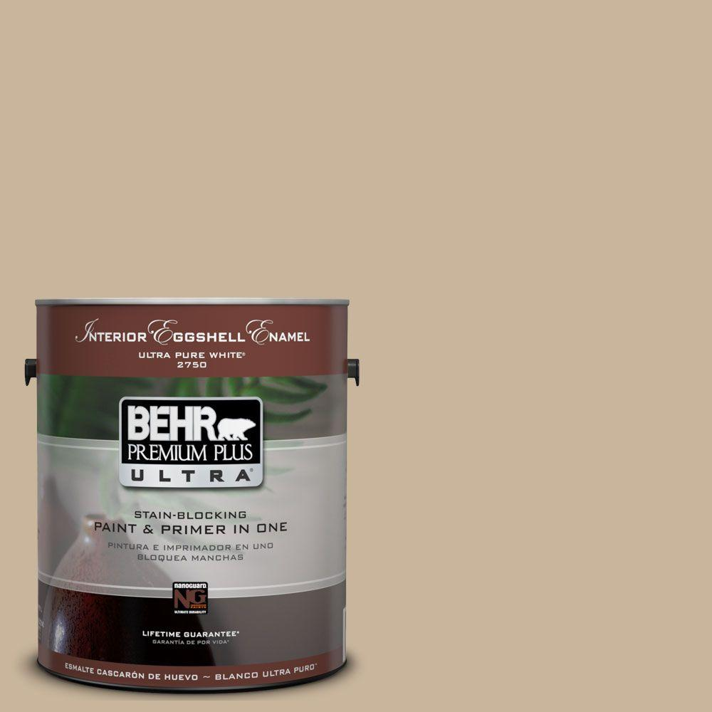 Behr Premium Plus Ultra 1 Gal Ul140 10 Mushroom Bisque Eggshell Enamel Interior Paint And